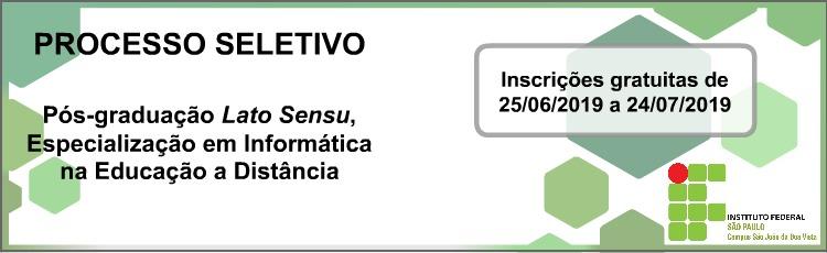 Inscrições Abertas para Pós-Graduação Lato Sensu, Esp. em Informática na Educação